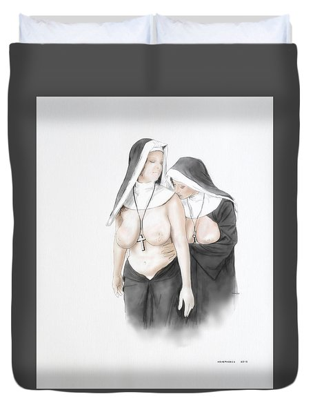 Duvet Cover featuring the mixed media Homophobia by TortureLord Art