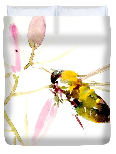 Honey Bee And Pink Flower Duvet Cover