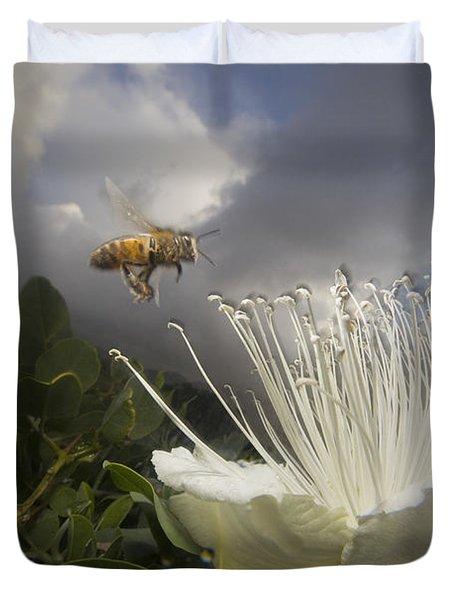 Honey Bee Apis Mellifera Approaching Duvet Cover by Mark Moffett