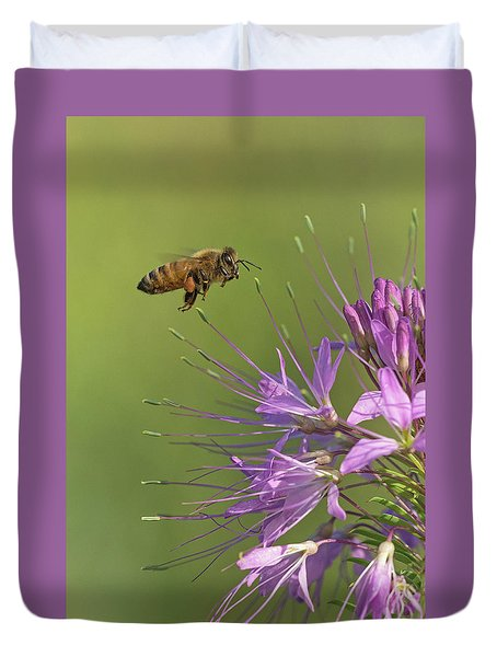Honey Bee At Work Duvet Cover