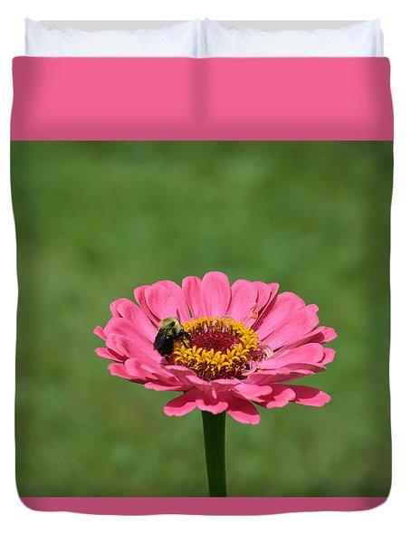 Honey Bee At Work Duvet Cover by Linda Geiger
