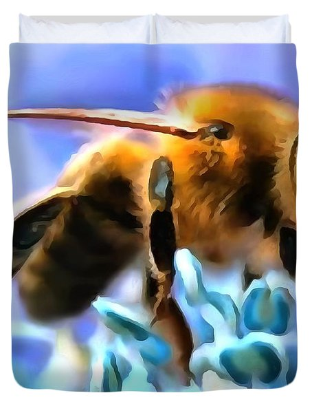 Honey Bee In Interior Design Thick Paint Duvet Cover