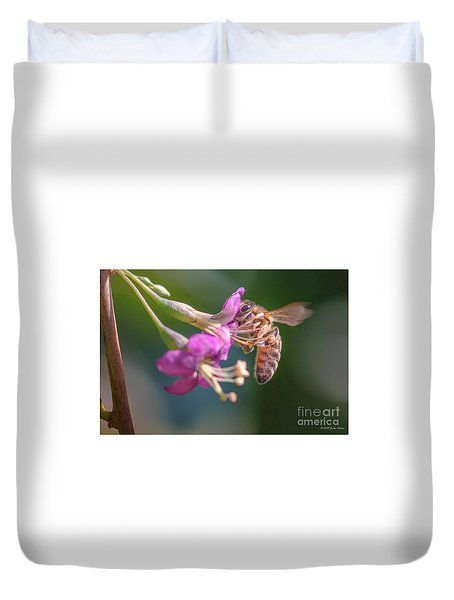 Honey Bee On Goji Berry Flower Duvet Cover