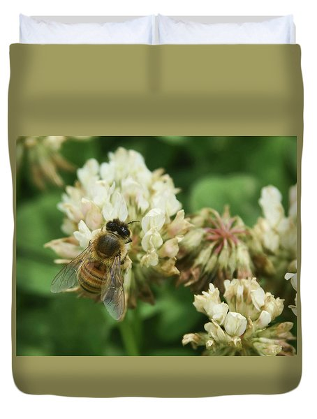 Duvet Cover featuring the photograph Honey Bee by Pamela Walton