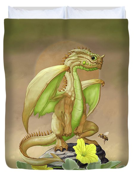 Duvet Cover featuring the digital art Honey Dew Dragon by Stanley Morrison