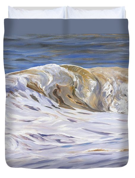 Duvet Cover featuring the painting Honey Wave by Lawrence Dyer