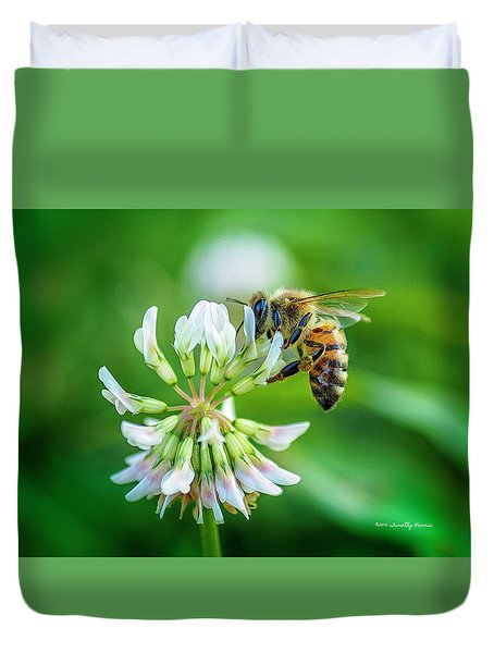 Honeybee On White Clover..... Duvet Cover