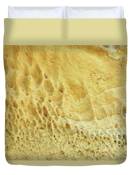 Duvet Cover featuring the photograph Honeycomb Rock by Nareeta Martin