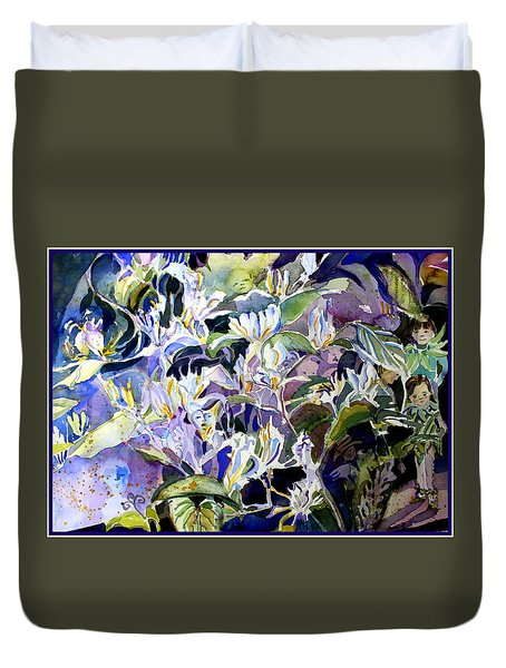 Honeysuckle Fairies Duvet Cover by Mindy Newman