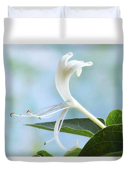 Duvet Cover featuring the photograph Honeysuckle Portrait. by Terence Davis
