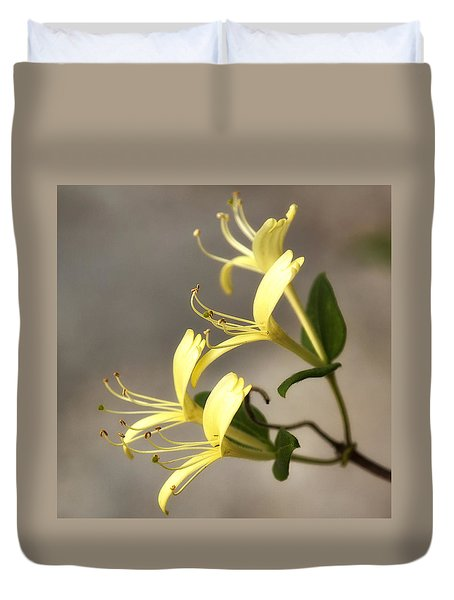 Duvet Cover featuring the photograph Honeysuckle  by Shirley Mitchell