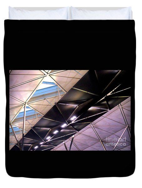 Duvet Cover featuring the photograph Hong Kong Airport by Randall Weidner