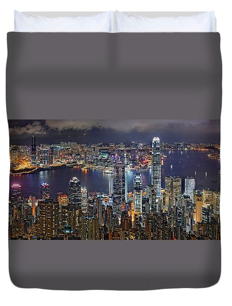 Hong Kong At Dusk Duvet Cover by Jeff S PhotoArt
