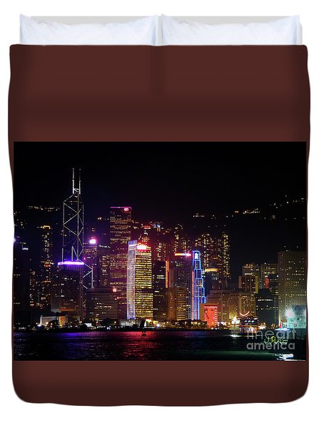 Hong Kong At Night Duvet Cover