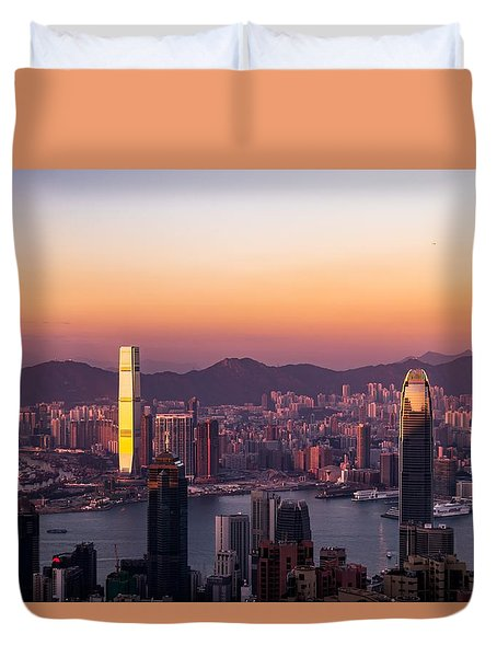 Hong Kong At Sunrise Stories From The Road Series 002 Duvet Cover
