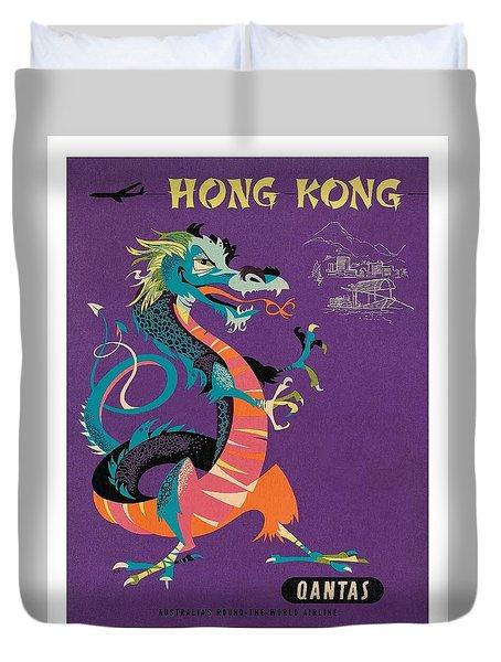 Hong Kong Chinese Treasure Dragon Vintage Travel Poster  Duvet Cover