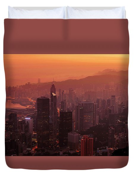 Duvet Cover featuring the photograph Hong Kong City View From Victoria Peak by Pradeep Raja Prints
