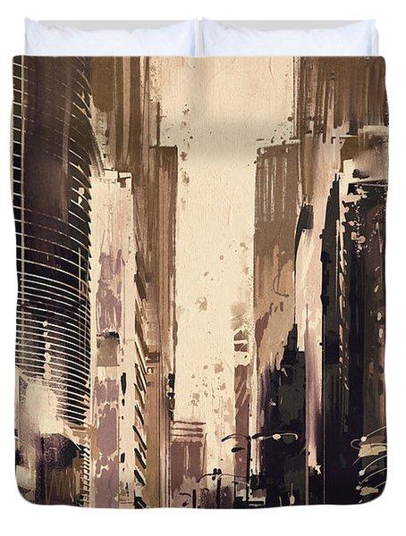 Hong-kong Cityscape Painting Duvet Cover