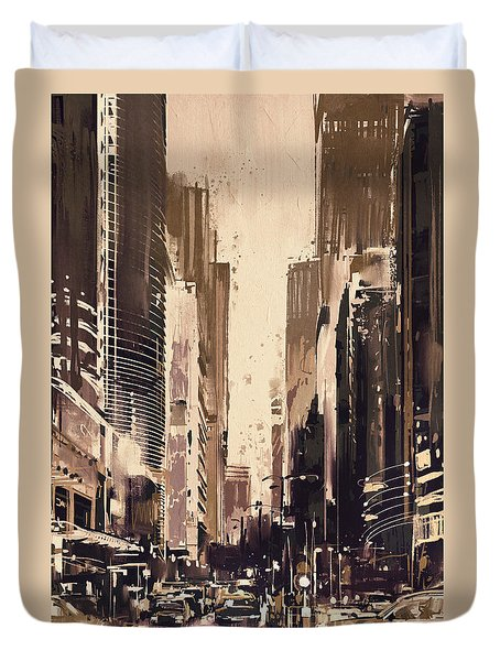Hong-kong Cityscape Painting Duvet Cover