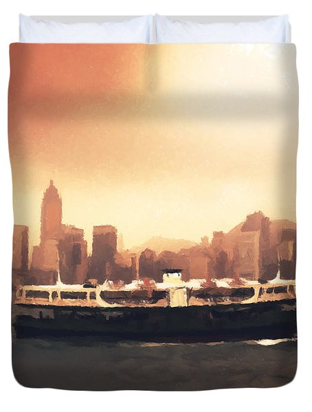 Hong Kong Harbour 01 Duvet Cover by Pixel  Chimp