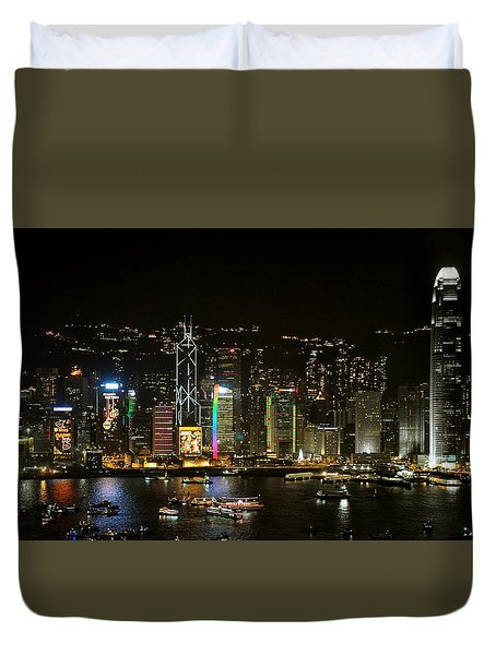 Hong Kong On A December Night Duvet Cover