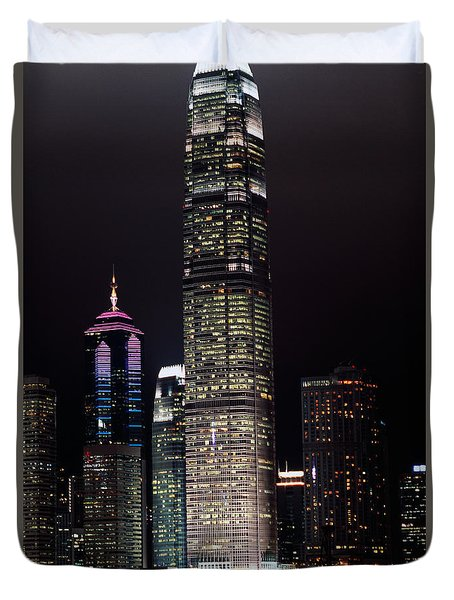 Hong Kong Skyline Duvet Cover by American School