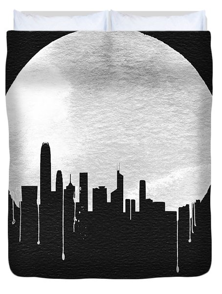 Hong Kong Skyline Black Duvet Cover