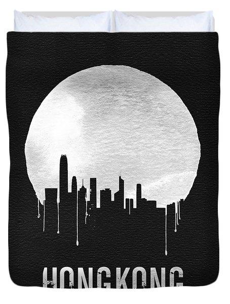Hong Kong Skyline Black Duvet Cover by Naxart Studio