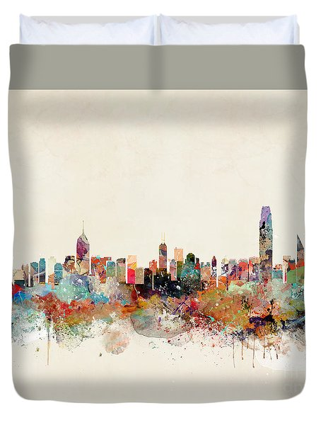 Duvet Cover featuring the painting Hong Kong Skyline by Bri B