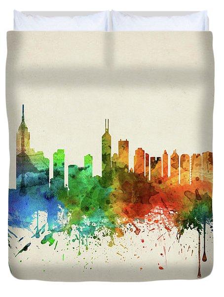 Hong Kong Skyline Chhk05 Duvet Cover by Aged Pixel