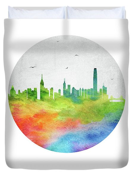 Hong Kong Skyline Chhk20 Duvet Cover by Aged Pixel