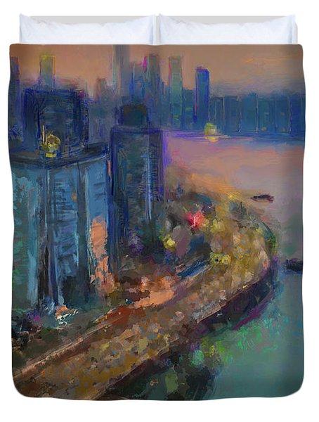 Hong Kong Skyline Painting Duvet Cover