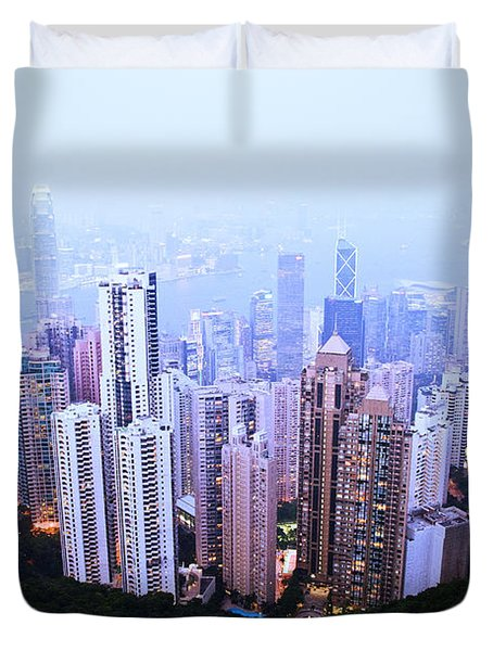Hong Kong Skyline Duvet Cover by Ray Laskowitz - Printscapes