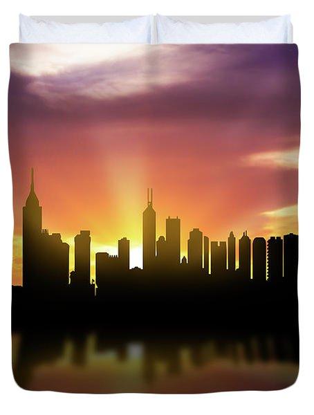 Hong Kong Skyline Sunset Chhk22 Duvet Cover by Aged Pixel