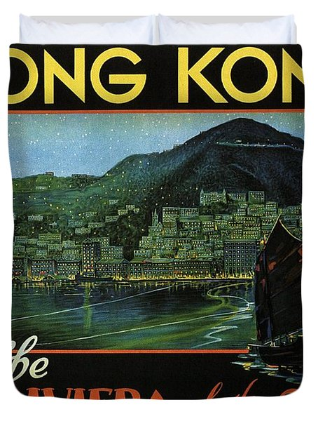 Hong Kong - The Riviera Of The Orient - Vintage Travel Poster Duvet Cover