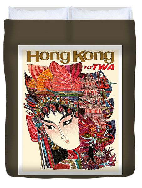 Hong Kong Vintage Airline Travel Poster By David Klein Duvet Cover