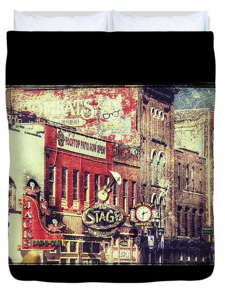Honky Tonk Row - Nashville Duvet Cover