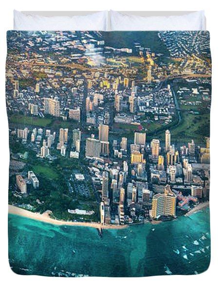 Honolulu From High Duvet Cover