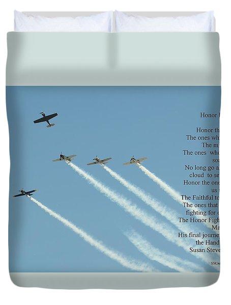 Honor Flight- Missing Man Formation Duvet Cover