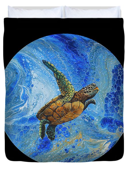 Duvet Cover featuring the painting Honu Amakua On Black by Darice Machel McGuire