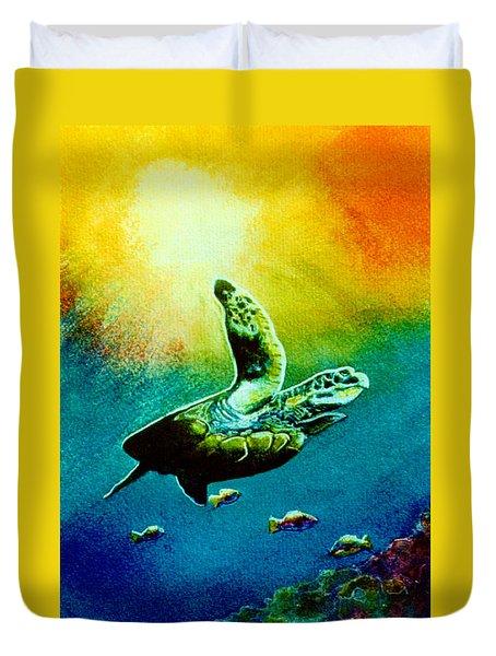Honu Hawaiian Sea Turtle #154  Duvet Cover by Donald k Hall