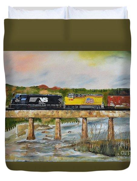 Duvet Cover featuring the painting Hooch - Chattahoochee River - Columbus Ga by Jan Dappen