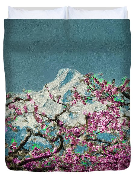 Duvet Cover featuring the digital art Hood Blossoms by Dale Stillman