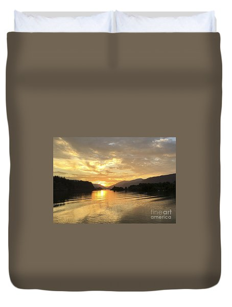 Hood River Golden Sunset Duvet Cover