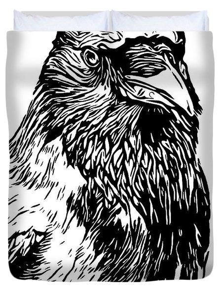 Hooded Crow Line Art Woodcut Type Illustration Duvet Cover