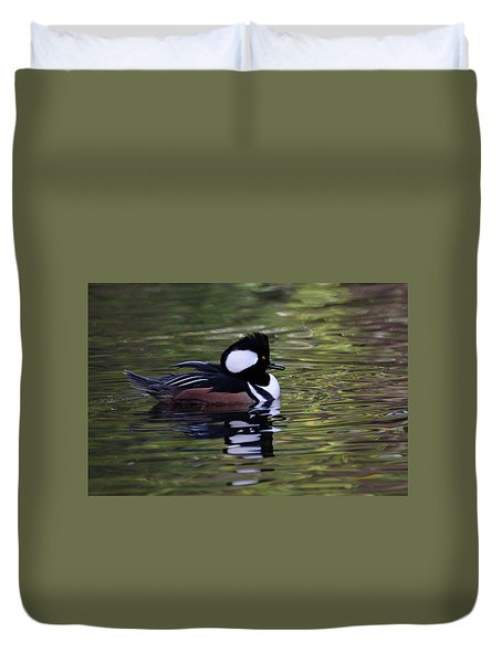 Hooded Merganser Duck Duvet Cover