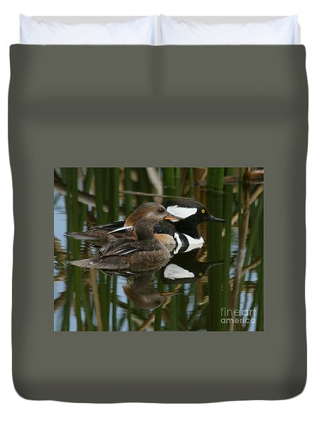 Duvet Cover featuring the photograph Hooded Mergansers by Myrna Bradshaw