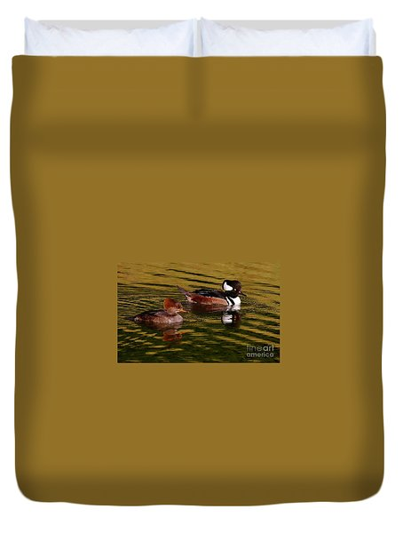 Hooded Merganser Couple Duvet Cover by Myrna Bradshaw