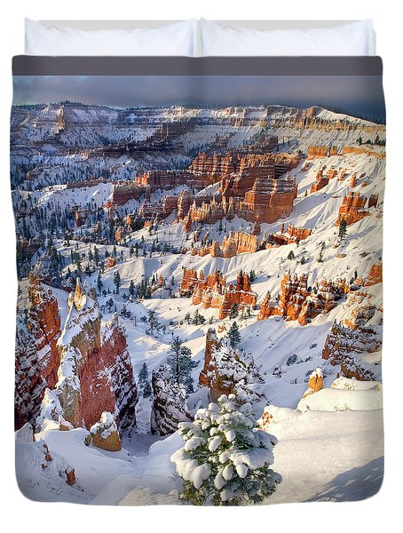 Duvet Cover featuring the photograph Hoodoos And Fir Tree In Winter Bryce Canyon Np Utah by Dave Welling