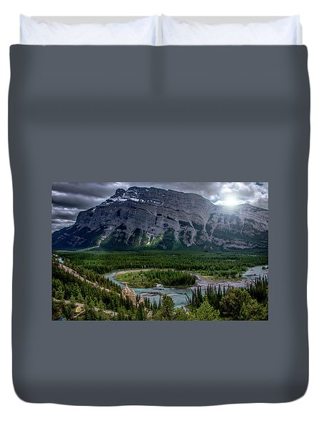 Hoodoos On The Bow River Duvet Cover by Patrick Boening